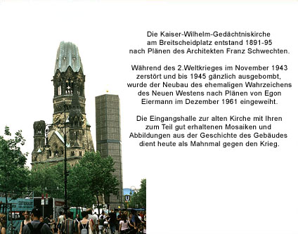 kaiser wilhelm ged chtniskirche kirche mahnmahl sightseeing tourist info berlin kurf rstendamm. Black Bedroom Furniture Sets. Home Design Ideas